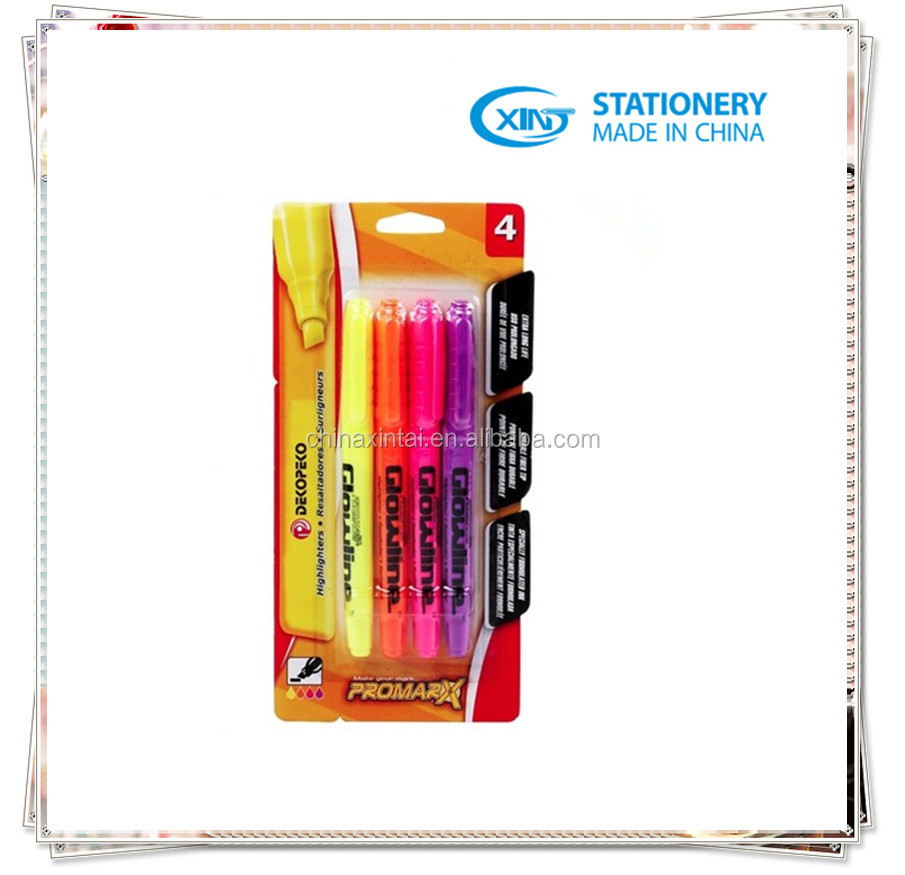 4 color highlighter marker pen set XT-9600A