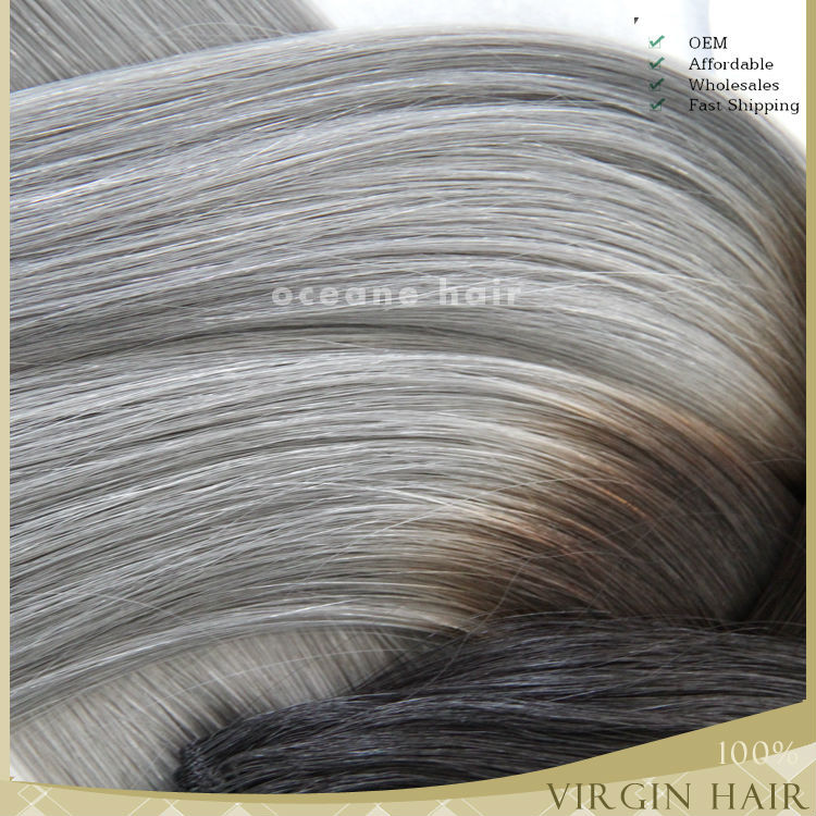 Beautiful style ombre grey hair extensions 100 virgin hair grey beautiful style ombre grey hair extensions 100 virgin hair grey human hair weaving pmusecretfo Images