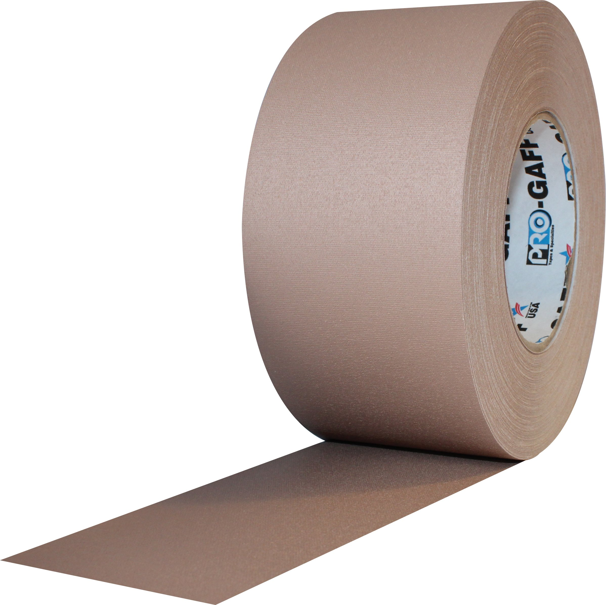 """ProTapes Pro Gaff Premium Matte Cloth Gaffer's Tape With Rubber Adhesive, 11 mils Thick, 55 yds Length, 3"""" Width, Tan (Pack of 1)"""