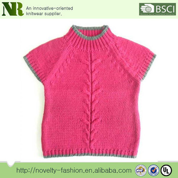 Pink Hort Leeve Girls Pullover Knitted Sweaterknitting Patterns