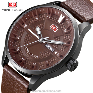 MINI FOCUS Design Your Own Watch Casual Mens Leather Week Date Quartz Chrono Sport Watch Waterproof