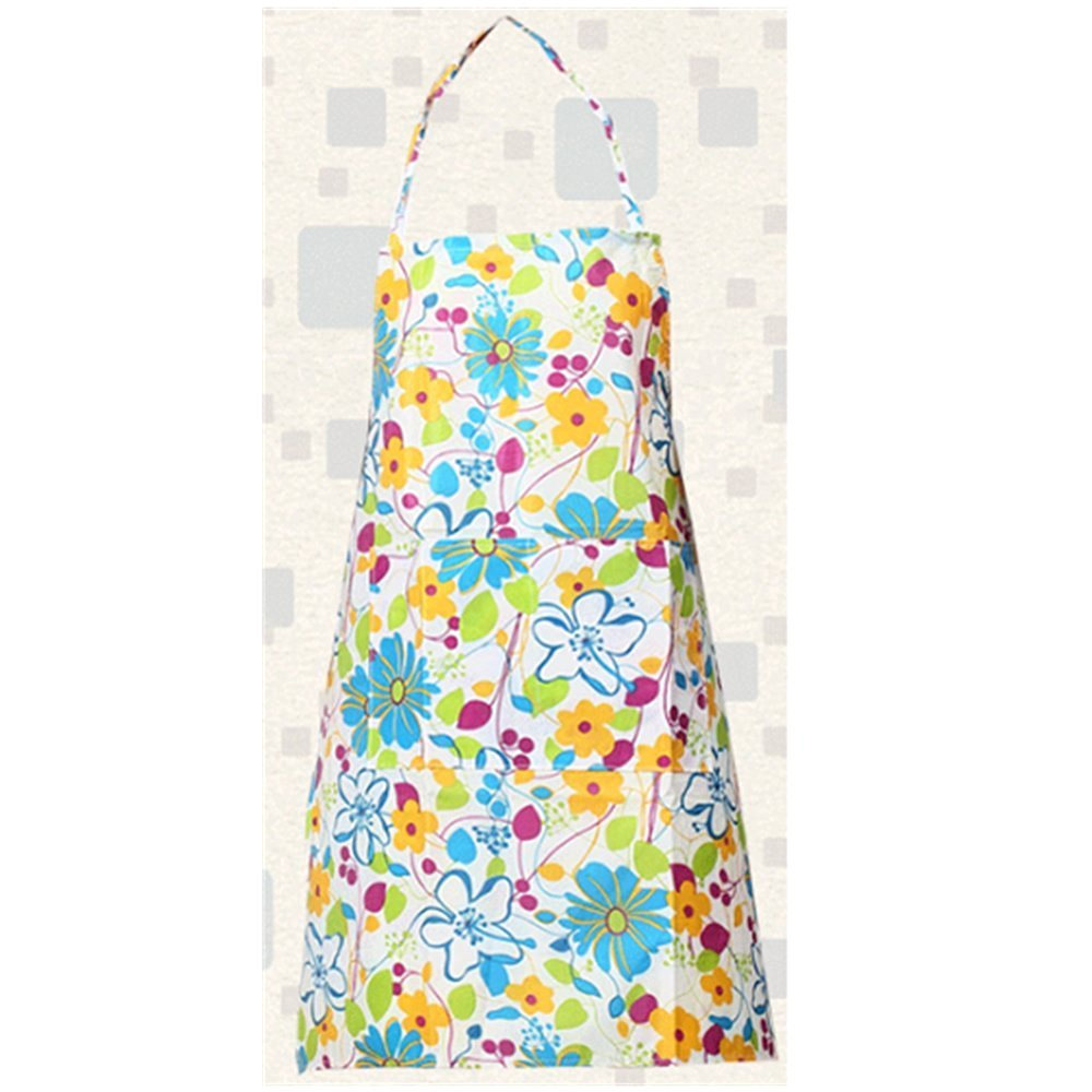 KAKA(TM) Kitchen Women Fashion Floral Pattern Waterproof Chef Cooking Cook Apron Bib -(34.2*23.6 inch )Blue floral