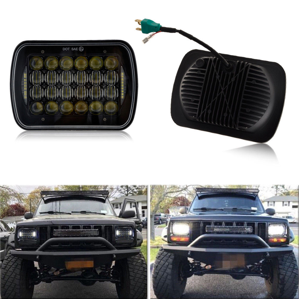 "5D Lens DRL Headlamp 5*7 Inch Square Headlights 6""x7"" Off Road LED Headlight Lights For Jeep Wrangler YJ"