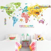Hot-selling colorful vinyl stickers world map wall sticker