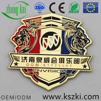 Jinan Quan Wei association car club gold metal car badge with car logo, custom shape and pattern design, number can be engraved