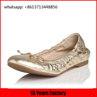 Classic style comfortable bowknot , embroidery , sacchetto and can folding outsole and leather fashion ballerina shoes