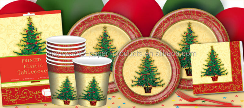 christmas party supplies christmas tree tableware disposable paper plates cups napkins serviette and plastic table cover buy christmas tree tableware