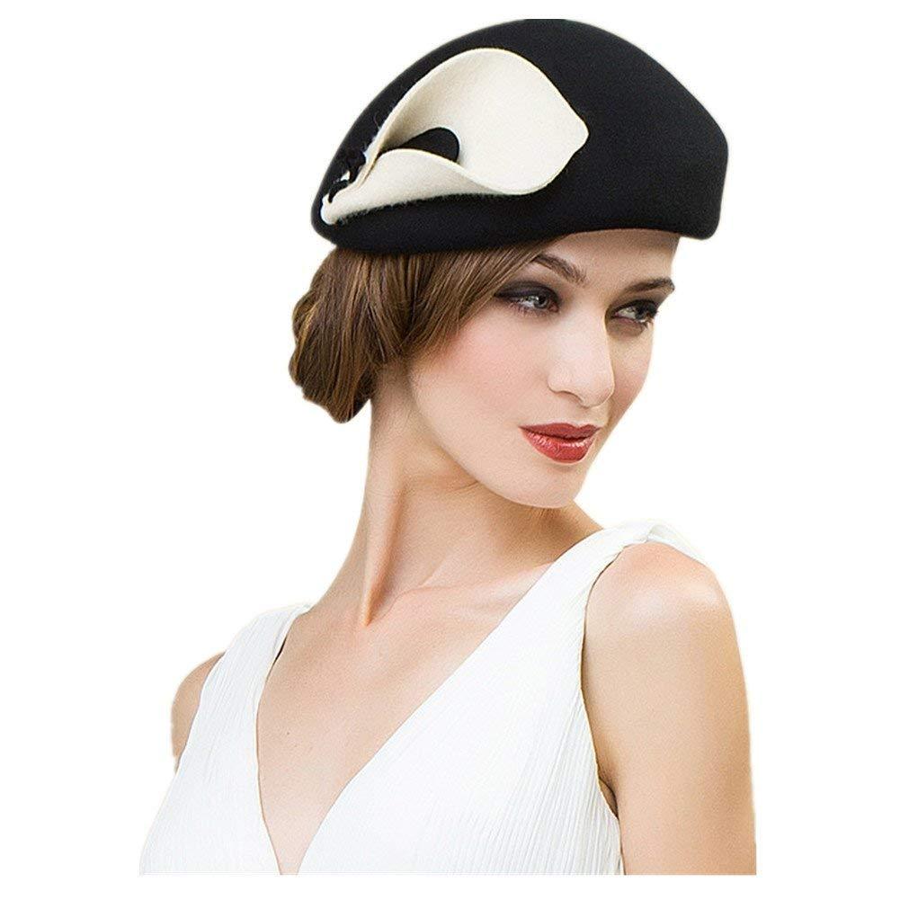 ab7d543f Get Quotations · Lawliet Womens Beret Felt Wool Fascinator Cocktail  Cheltenham Fesitval Hat A209