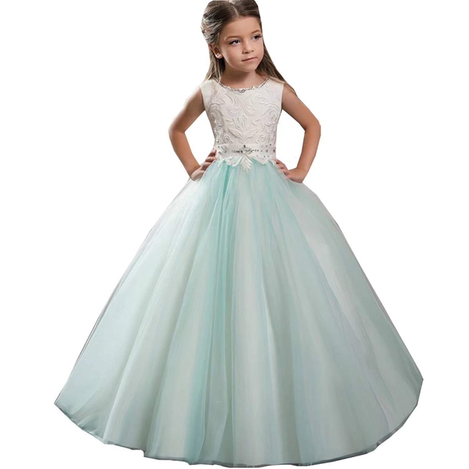 a36050395a26 Get Quotations · Tifus Dress Flower Girl Dresses Ball Gowns Lace up Sparkly  Dresses for Girls Holy First Communion