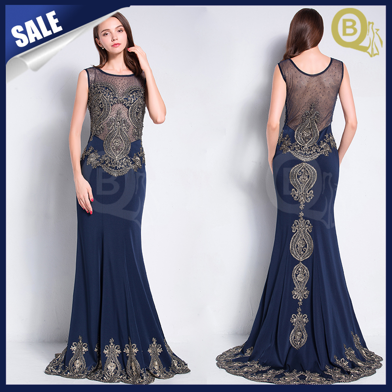 2016 Gorgeous Beaded Embroidery Blue sexy Long Mermaid Evening Dress
