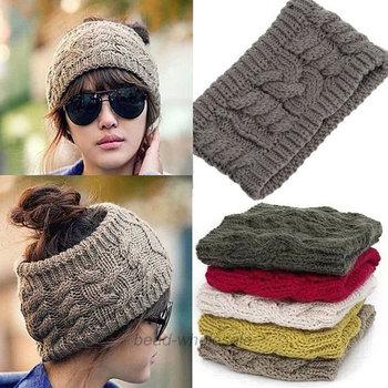 Invierno cálido mujeres trenzado de punto de lana sombrero bandas diadema  de pelo tapa d5dc324e81f
