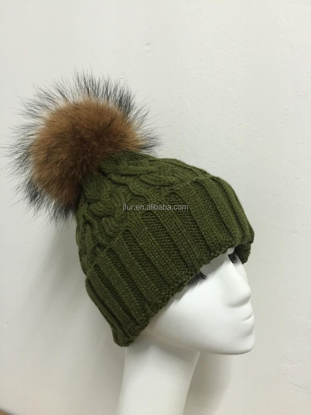 Big Raccoon Fur Pompom Hats Wool Fur Bobble Hats Khaki Green Ladies Fur  Balls Hats 4ad530d109b