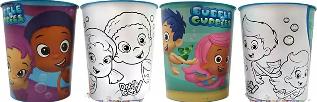 Nickelodeon Bubble Guppies Plastic Reusable 16oz Color Your Own Cup (2-pack)