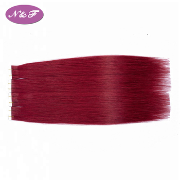 YF Red Color Tape In Remy Human Hair Extensions Double Drawn Remy Hair Straight Invisible Skin Weft PU Tape On Hair Extensions