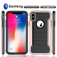 For iPhone X Two Parts Case, Slim Flexible Brushed Metal Textured PC TPU Double Phone Case for iPhone X