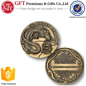 Free artwork free mold fee free shipping low moq brass custom full color metal finish Golden Dragon Challenge Coin
