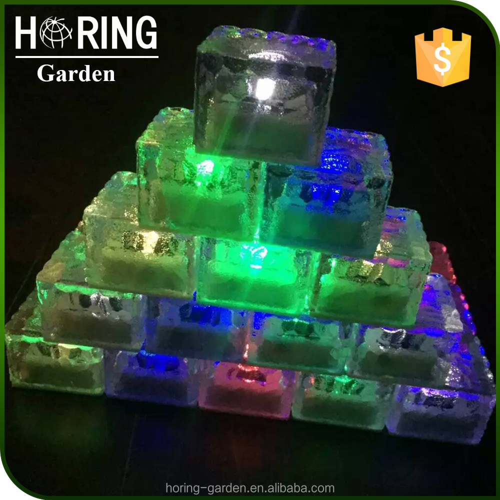 Outdoor Bright White LED Solar Ice Rock Crystal Glass Brick Landscape Path Lights Post Cap Deck Garden Decoration