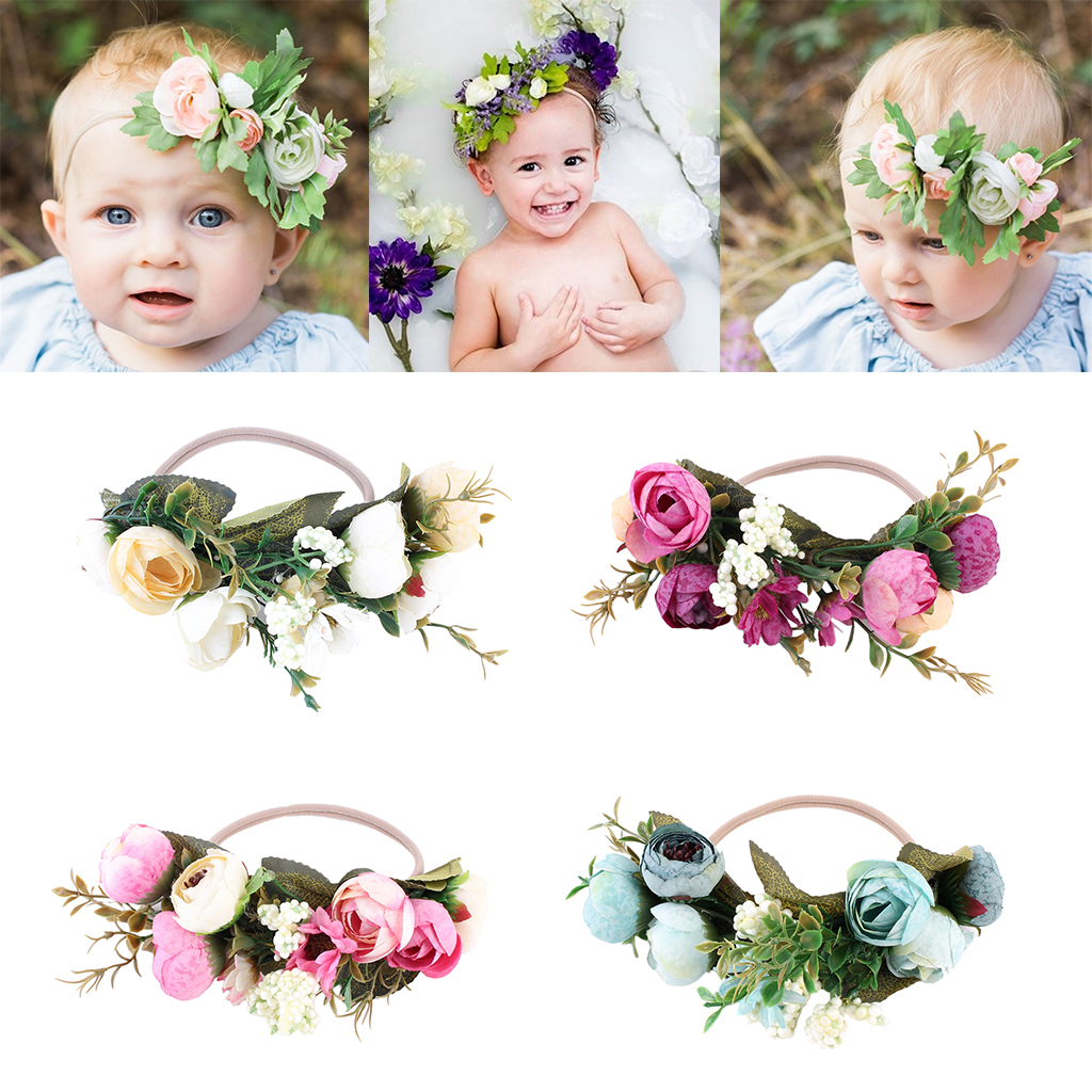 Cute baby children kids girls floral crown headwear headband party flower hair accessory for travel party stage show photo tool