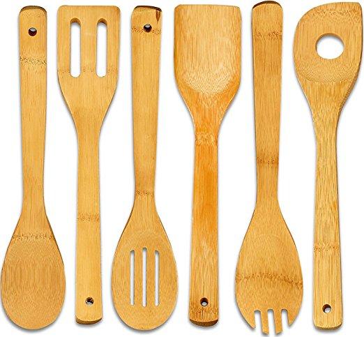 6 pieces kitchen wooden bamboo utensil set