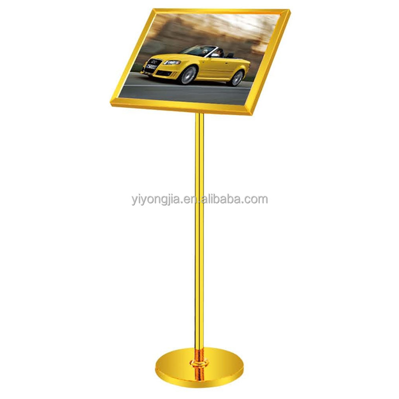 bevel advertising billboard stainless steel sign stand for lobby