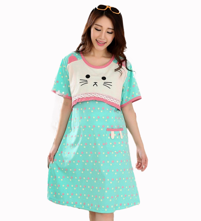 67db08ac77d Get Quotations · Plus size Kawaii Kitty Pink dots loose pregnant women  maternity clothing for breast feeding homecoming dress