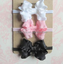 Gift set of 3 small hair bows skinny headbands Preemie Infant Baby Newborn