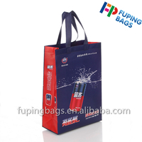 2016 new style non woven shopping bag for drinks wine grocery food handle carry bag