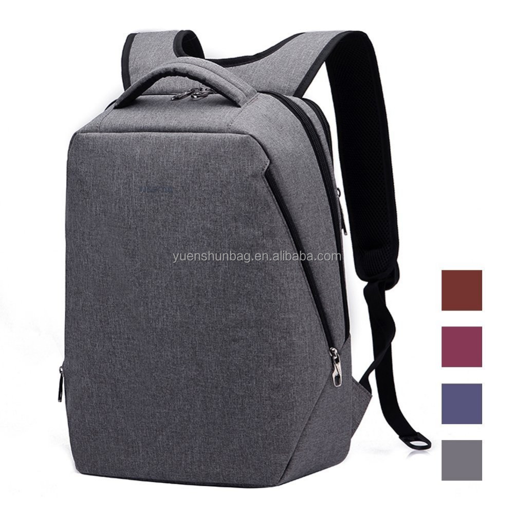 14.1 Inch Grey Men Laptop Backpack Slim Travel Bag Waterproof With Separate Laptop Compartment