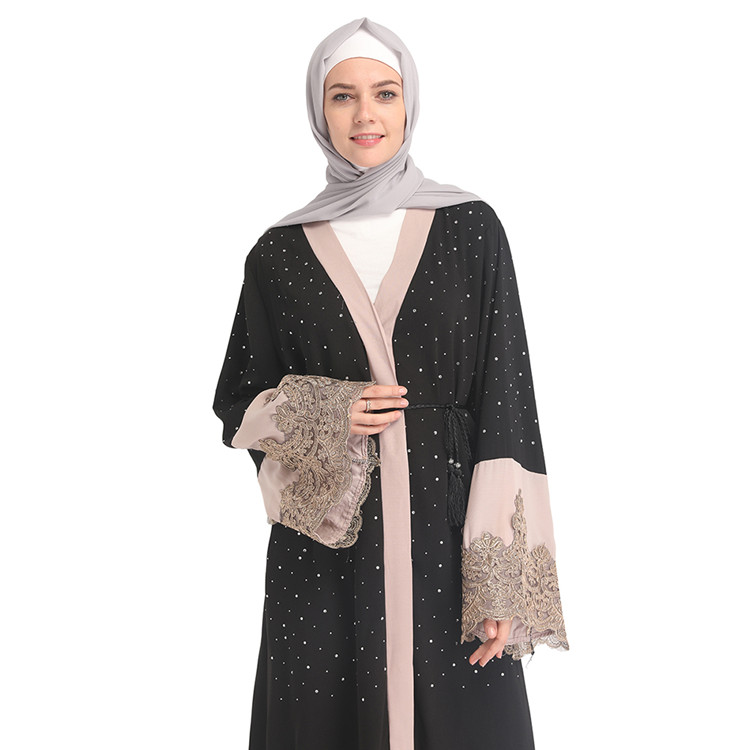 Stone 2019 Fashionable Muslim Women Black Ladies Inner Cap Islamic Clotihing Knitted Hooded Cardigan