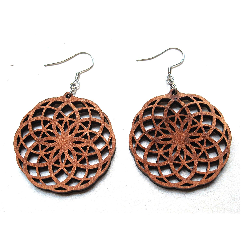 Seed of Life Wood Earrings Double, Crop circles, Sacred geometry jewelry, Seed of life jewelry, Boho jewelry, Geometric Art, Design earring