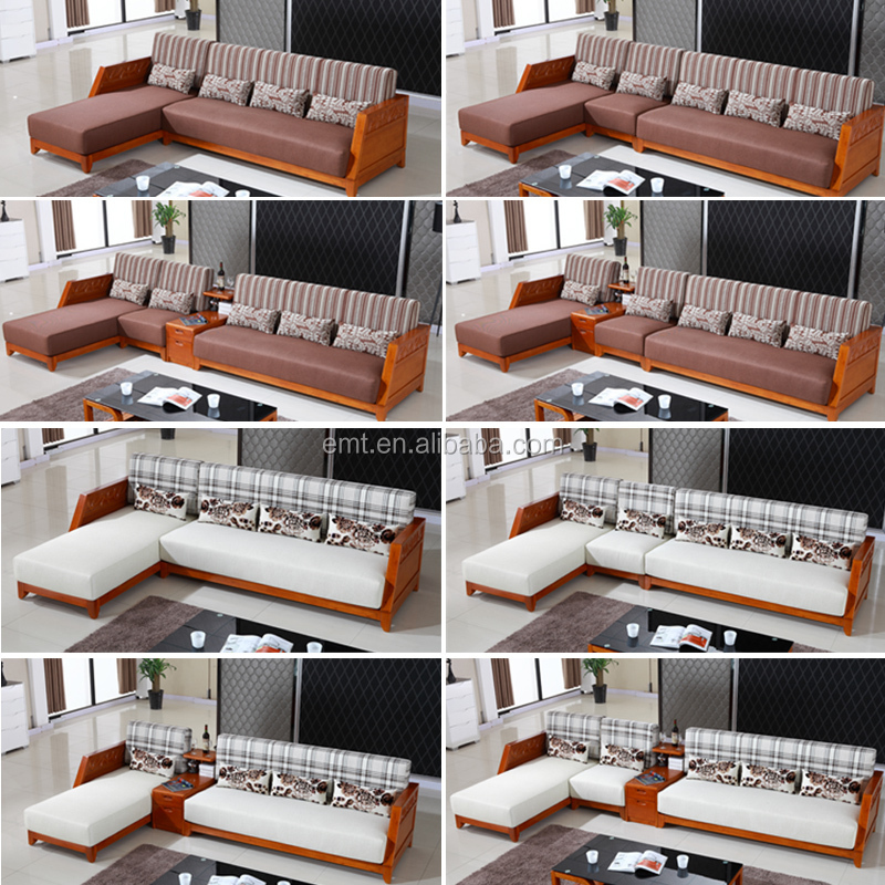 Solid Wood L Shape Fabric Coner Sofa 2017 Latest Sofa Design Living ...