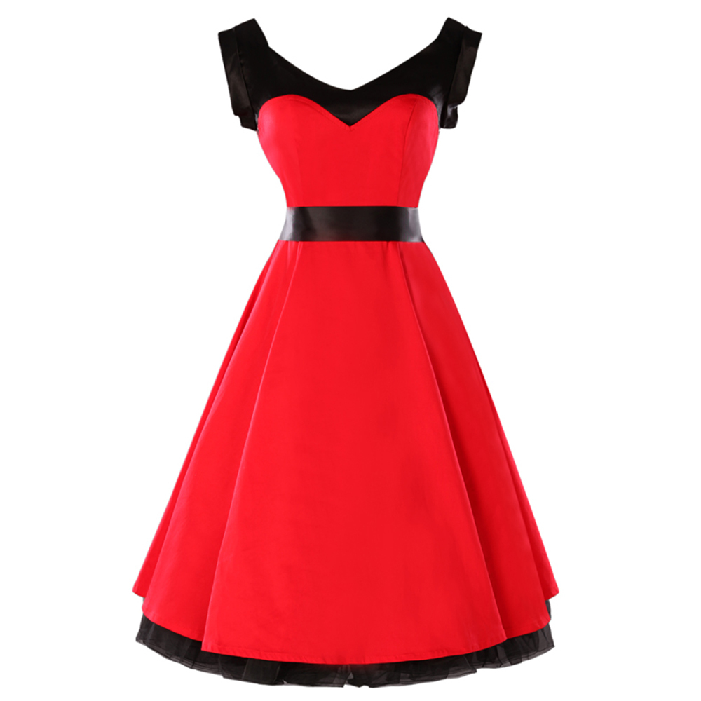 30f8bc425c2 50s Vintage Dress Red Short Knee Length Housewife 60s Swing Dress Rockabilly  Plus Size 1950s Retro