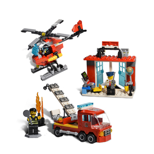 kids building fire station blocks fire truck toys firefighter toys set compatible with legoing