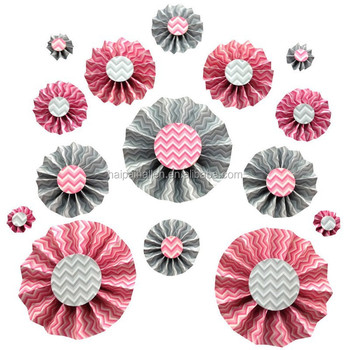 2015 New Pink Diy Paper Rosettes Fan Paper Flower For Party Paper