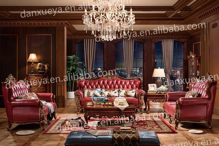 European Classic Wood Genuine Leather Living Room Furniture Sofa Set Part 77