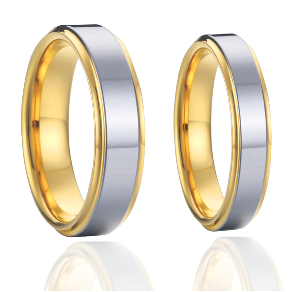 2015 classic  titanium couples wedding bands rings sets 1 pair 18k gold plated alliances USA size 7-15