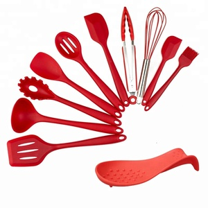 Silicone Heat-Resistant Non-Stick Kitchen Utensils Cooking Tools 10+1 Piece Kitchen Utensil Set