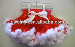 Lovely Design Baby Christmas Costume Kids Red and White Chiffon Fluffy Ruffle Christmas Tutu Pettiskirt Dress For Party