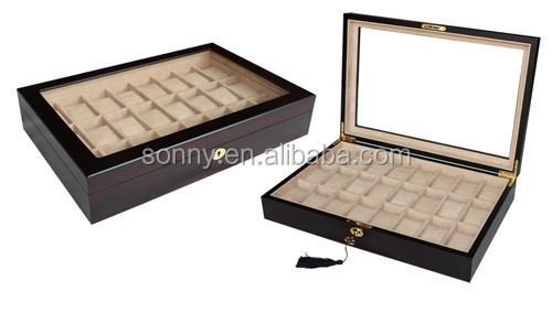 Luxury Ebony Wooden Watch Box for 24 Watches Display