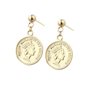 Spain Women Yellow Gold Jewelry 925 Sterling Silver Coin Erring