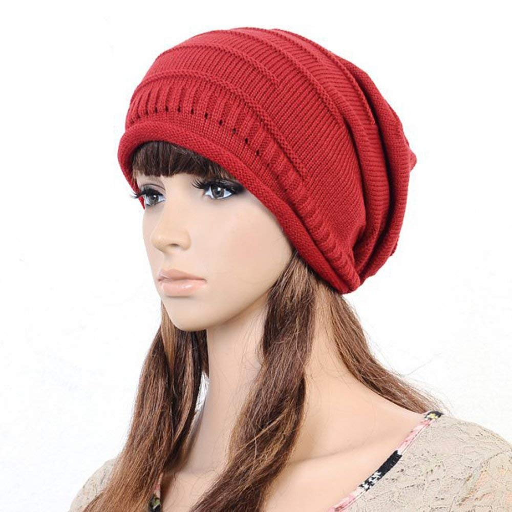 Get Quotations · JOVANA Unisex Women Men Winter Warm Ski Knitted Crochet  Baggy Beanie Hat Cap Beret (Red 669c24f65c9c