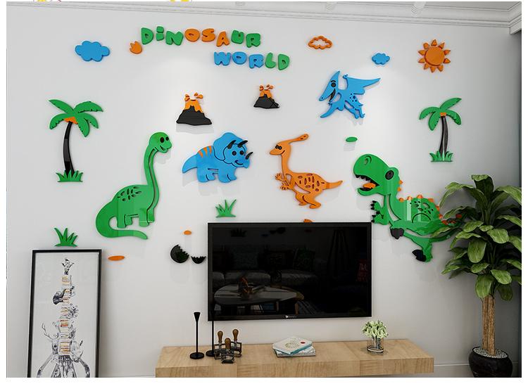 kids room decor dinosaur 3d wall stickers for kindergarten nursery