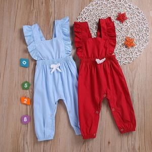 Cute Toddler Baby Girls Kids clothes Ruffle sleeveless solid cotton summer Romper backless Jumpsuit one pieces