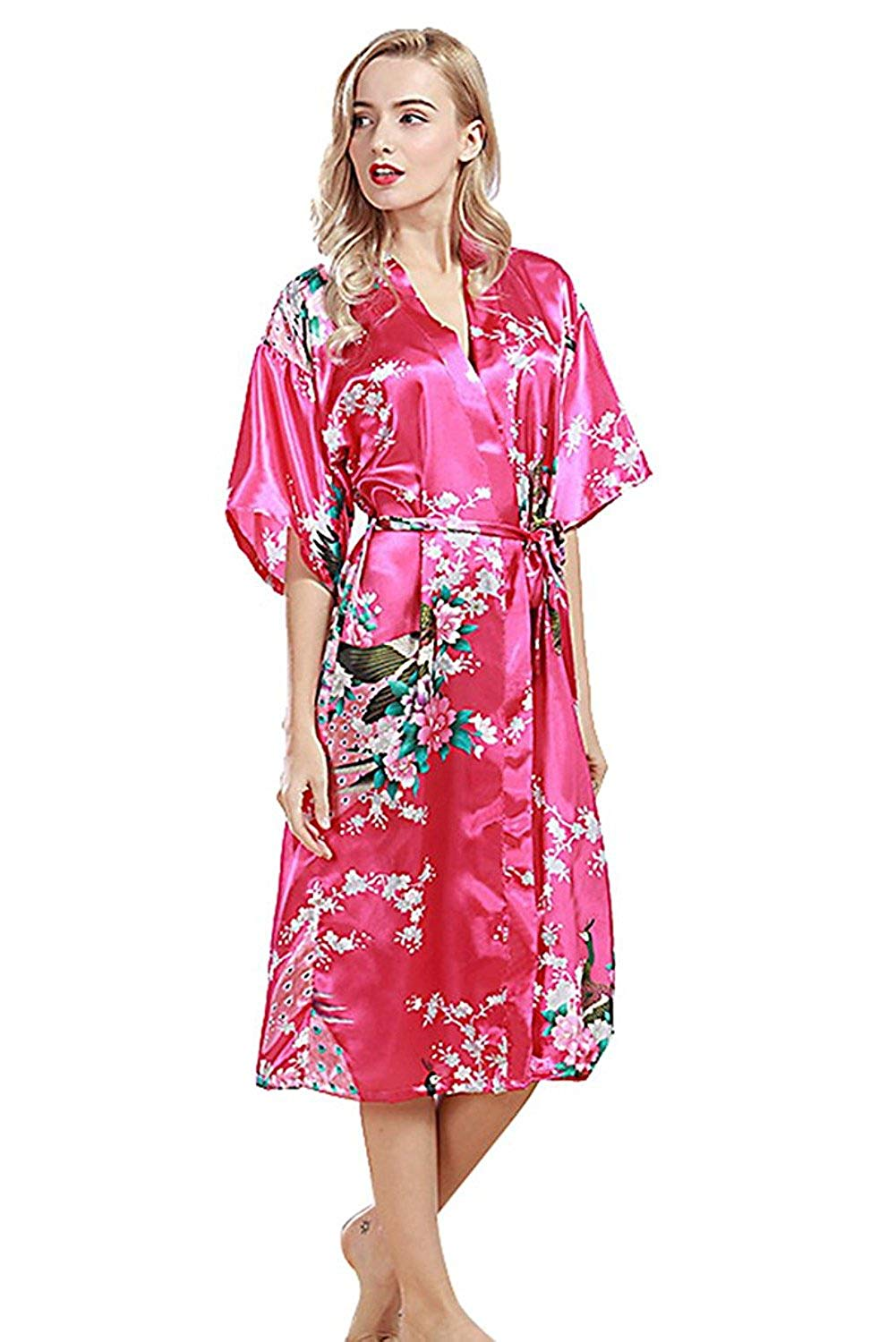 Get Quotations · JINGCHENG Women s Printing Peacock Kimono Robe Silk Bridal  Long Robe c4d4aabcd