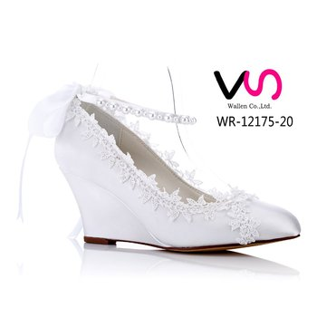 little wedge with lace comfortable bridal shoes women dress shoes dyeable  shoes for wedding cheap made e472442b7