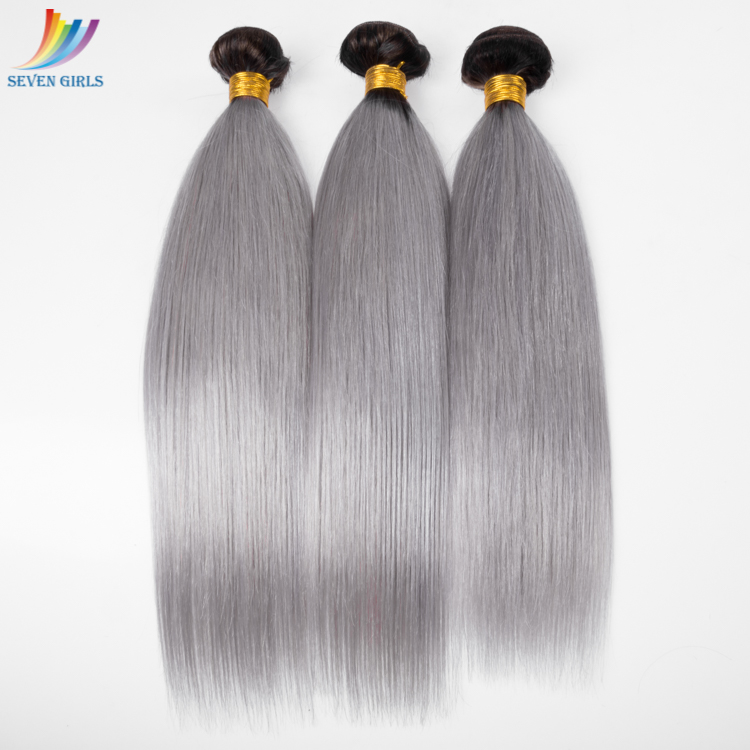 3 bundles 12inch silk straight ombre color 1b grey virgin remy hair unprocessed indian hair