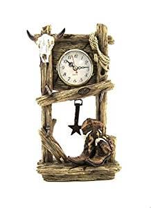 10.5 Inch Wood Look Design Cattle Skull and Boots Pendulum Desk Clock