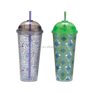 24OZ plastic double wall Dome lid tumbler/mugs