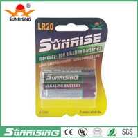 Sunrising High discharge capacity LR20 1.5v alkaline d battery alkaline/1.5V LR20 D Size wall clock Led Flashlight battery