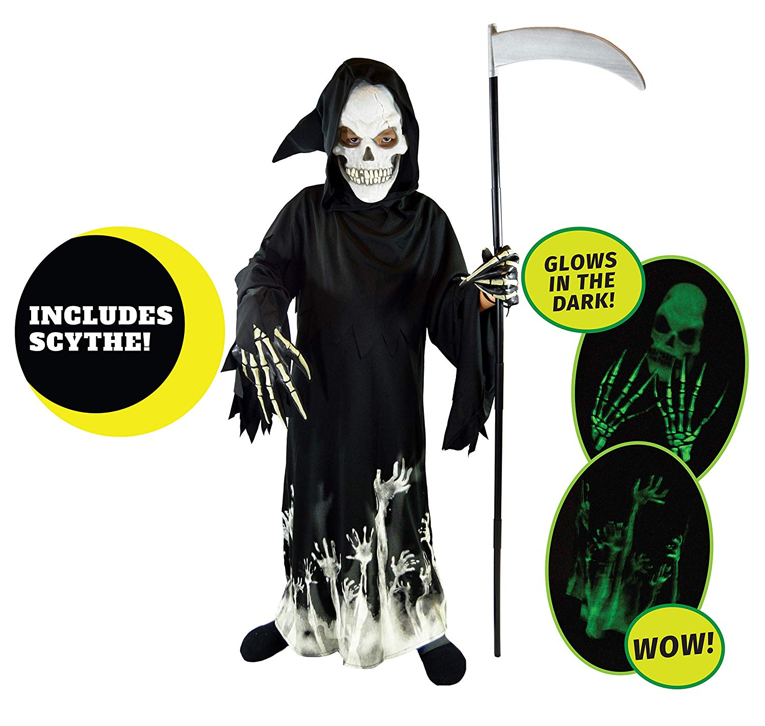 Spooktacular Creations Grim Reaper Glow in The Dark Deluxe Phantom Costume for Kids
